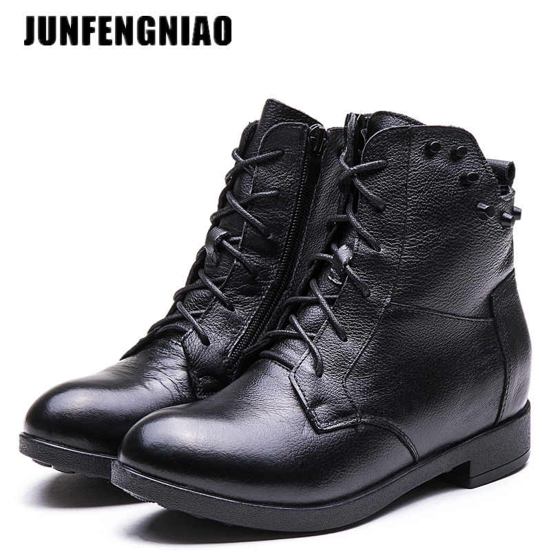 9906561ab1bae JUNFENGNIAO Snow Boots Women's Shoes Mother Ladies Plush Winter Fur Rubber  Genuine Leather Lace Up Flats