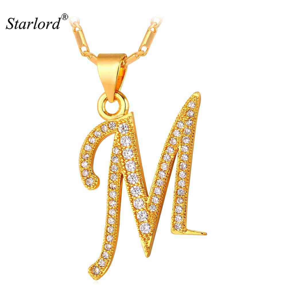 Starlord Initial M Letter Pendants & Necklaces For Women Men Personalized Gift Alphabet Jewelry Gold Color Necklace P1683