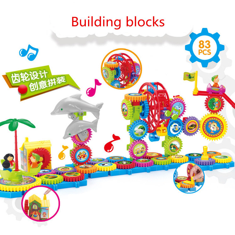 83pcs Educational The Gear wheel Building Blocks toy Electric assembly toy kids Child best Gift Compatible with Legoed Duploe diy 117pcs princess dream castle park larger particles building blocks toy kids girl best gift compatible with legoed duploe
