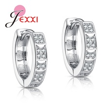 JEXXI JEXXI Brand Sterling Silver Earring For Woman Fashion Jewelry Full Clear Cubic Zircon Crystal Wedding Small Hoop Earring