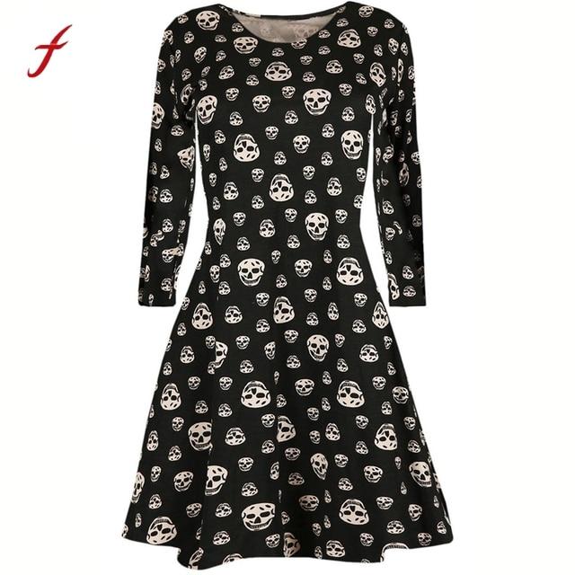 2017 Womens Halloween dress Ladies Black Funny Skull Print Dresses ...