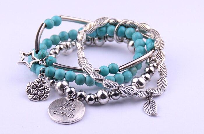 Free drop shipping Fashion semi precious stone beads with flower,leaf,pentacle charm ladies elasticity bracelet