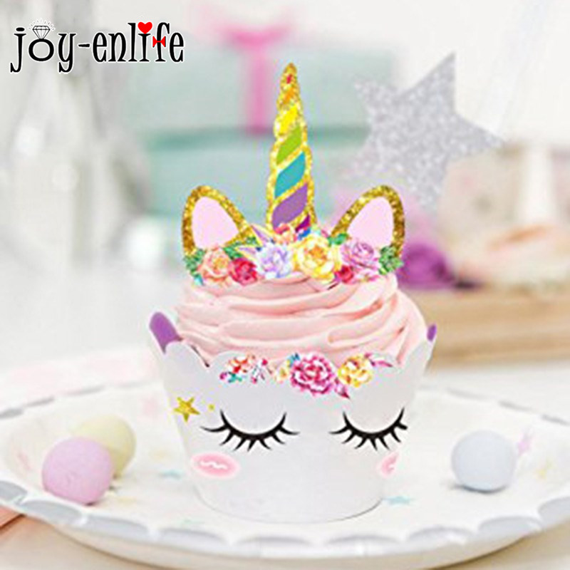 JOY-ENLIFE 24pcs Rainbow Unicorn Party Cake Topper Cupcake Wrappers Birthday Party Decoration Baby Shower Unicorn Party Supplies