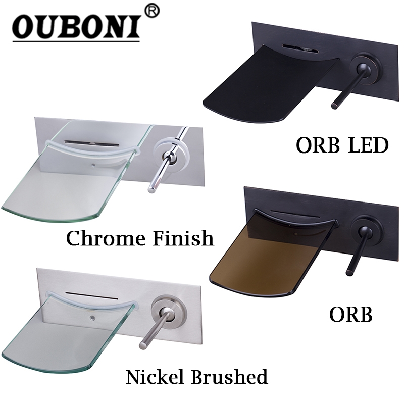 OUBONI Black Wall Mounted Brass Waterfall Bathtub Basin Tap Chrome Polished LED Bathroom Faucet Nickel Water Tap Mixers china sanitary ware chrome wall mount thermostatic water tap water saver thermostatic shower faucet
