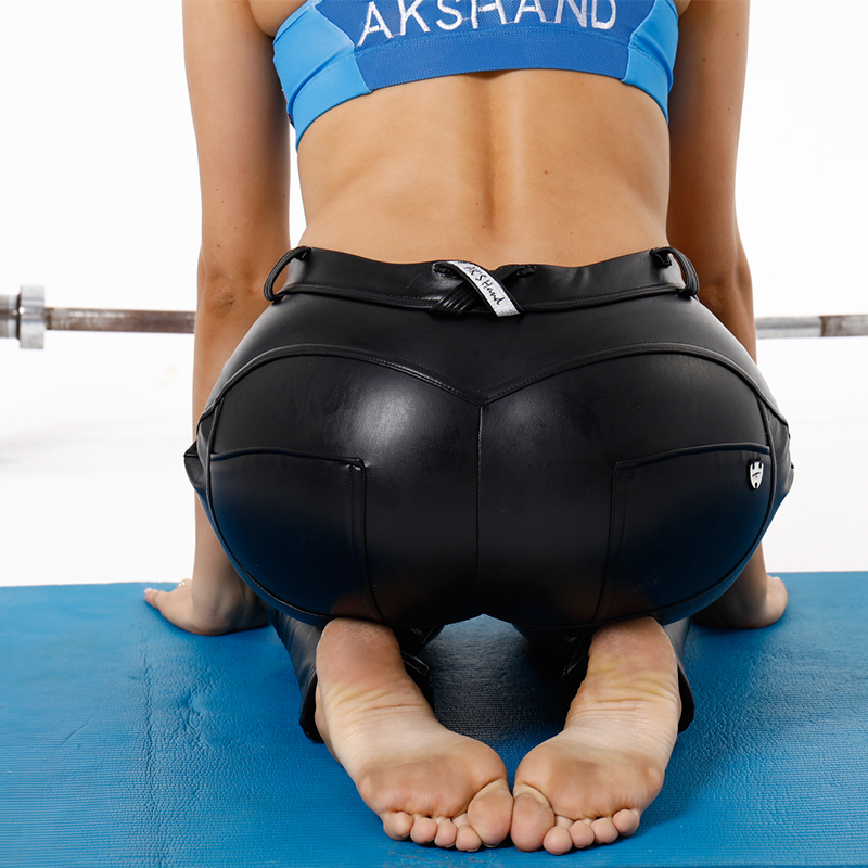 Aks Hand Imitation Leather Yoga Sex Pants Womens Black -3797