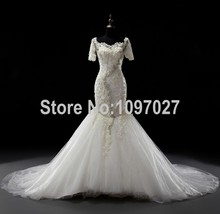 Mermaid Off Shoulder Real Photos Wedding Dress Sweep Train Half Sleeves Luxury  Tulle Bridal Gown With Pearls And Beadings AS41