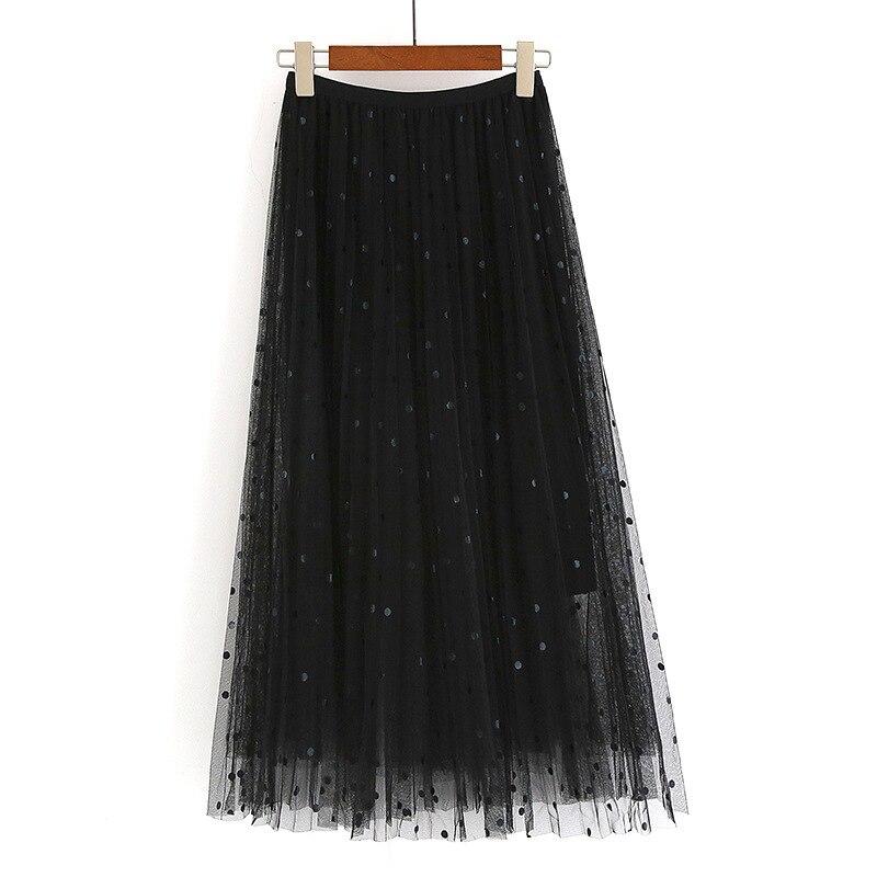 Long Chiffon Polka Dot Skirt Spring Autumn Elastic Waist Long Tulle Pleated Skirt Women 2019 Summer Black Maxi Skirts For Women