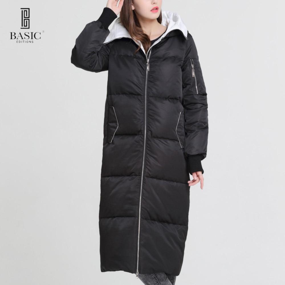 Основные Vogue Для женщин зима очень длинное пальто Повседневное Puff капюшон на молнии Парка на пуху куртка-y16065
