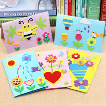 DIY Mother's Day Father's Day Greeting card Cartoon Animal 3D EVA Foam Sticker Puzzle craft toy Education Toy for Children(China)