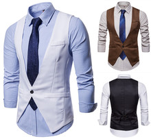 Stylish new mens Serge suit vest solid color single button business casual