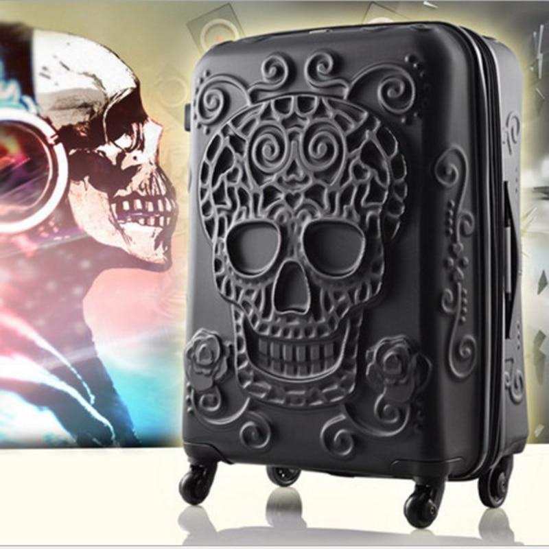 "TRAVEL TALE 2019 ใหม่ skull กระเป๋าเดินทาง 20 ""24"" 28 ""พกพา kinder รถเข็นกระเป๋าเดินทางบนล้อ-ใน กระเป๋าเดินทางแบบลาก จาก สัมภาระและกระเป๋า บน   3"