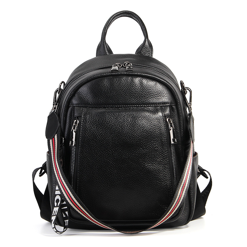 цены Backpack Female Genuine Leather Women Backpacks School Bag Plaid Strip Multifunctional Cow Leather Travel Backpacks #LF15833
