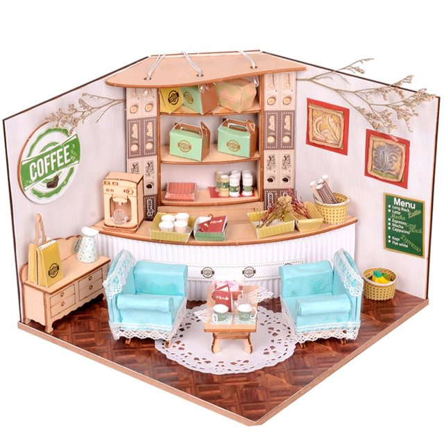 New sweet home colombian coffee house room diy dollhouse kit with led light wood miniature Home decorations light kit