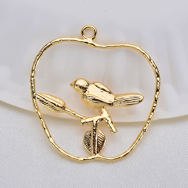 (33532) 6 Pcs 35 *25 Mm 24K Gold Color Brass Branch bird Charms Pendants High Quality Diy Jewelry Accessories