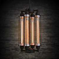 E27 Base 4 Heads Loft Industrial Vintage Bar Restaurant Chandelier Lamp American Creativity Iron Home Decor