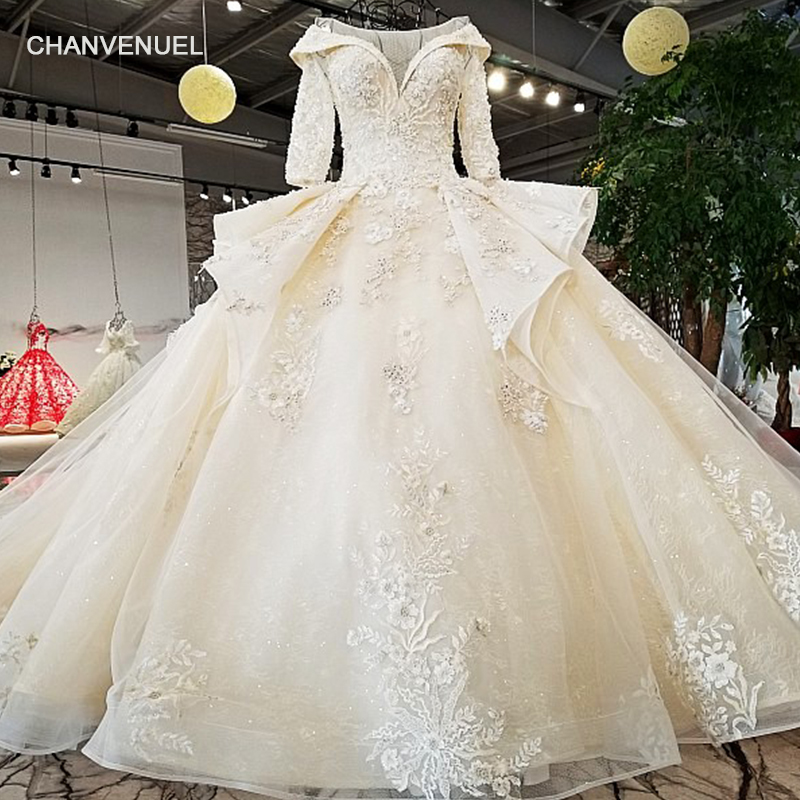 LS37810 2018 new bridal gownhalf sleeve lace up plus size formal rhinestone  bodice applique latest design peplum wedding dress -in Wedding Dresses from  ... 147bbbdcbcd9
