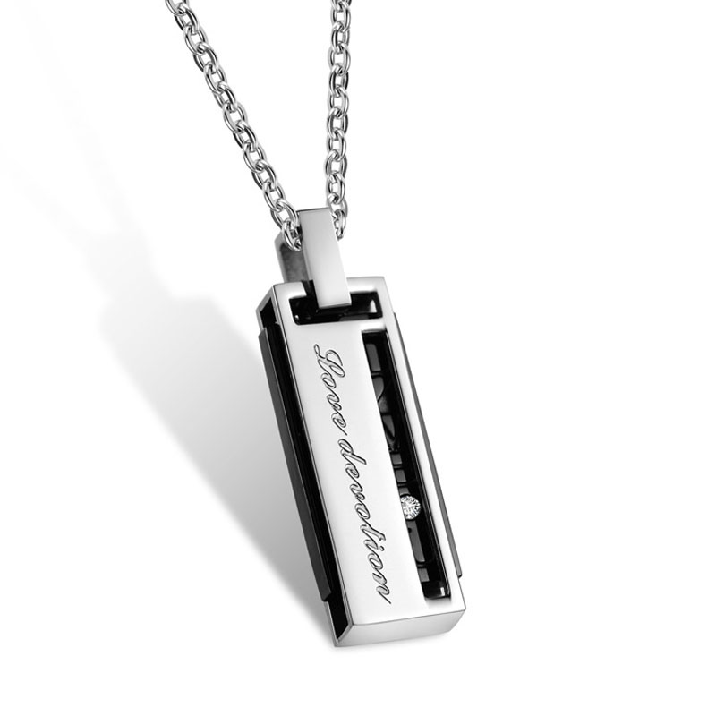 Titanium steel carved letter i love u a couple pendant necklace titanium steel carved letter i love u a couple pendant necklace embedded tag zircon rectangular pendants lover chain necklace in pendants from jewelry aloadofball Images