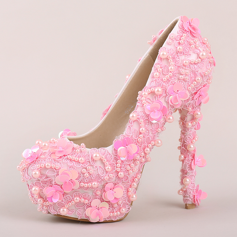 pink wedding shoes pearl lace round super high heel bride shoes glitter sweet shoes round toe