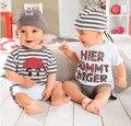 La ropa del bebé establece camiseta De manga corta para las bragas del sombrero 3 unids bebé conjunto De gaza Summer ropa para bebé Roupa De Bebe Menino