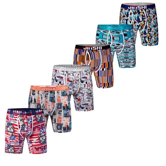 JINSHI Men's Boxers Mens Boxer Underwear Boxer Shorts Bamboo Classic Printed Trunks Men's Underwear Pants Male Convex Cueca Box