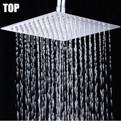 10 pouces acier inoxydable super mince tête de douche 25*25 cm pomme de douche salle de bain économie d'eau pomme de douche pluie douche chuveiro