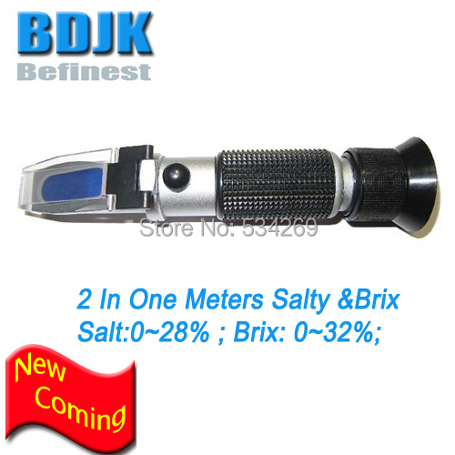 NEW 2 In 1 Refractometer 0~28% Salinity & 0~32% Brix  Meters Testers ATC Free Shipping free shipping led lighted cheaper honely 10% 30%water brix refractometer zgrb 30atc