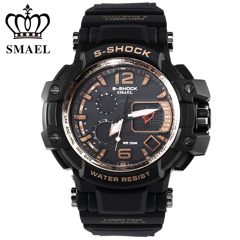 SMAEL Golden Sport Watches Men Dig Dial Dual Display Wristwatch LED Digital Watch Military relogios masculino