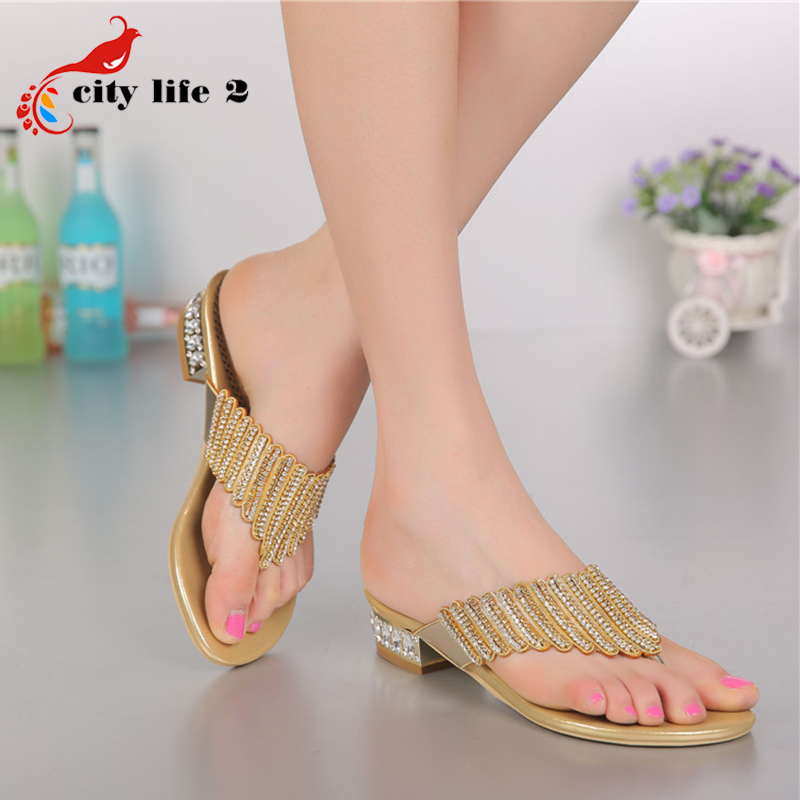 Genuine Leather font b Women s b font Sandals Summer 2016 New Diamond Slippers Bohemian Big