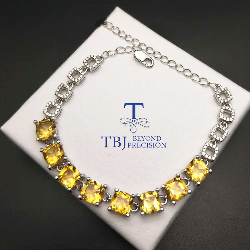 TBJ ,100% natural ard7 ct citrine cushion shape bracelet in 925 silver ,classic design gemstone bracelet for women with gift box