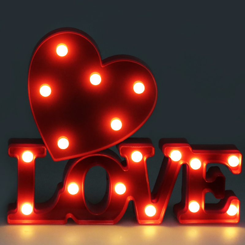 LED Night Lights Love Light 3D Novelty Table Lamp Wall Lamp Home Christmas Party Decorations Novelty Lighting for Children