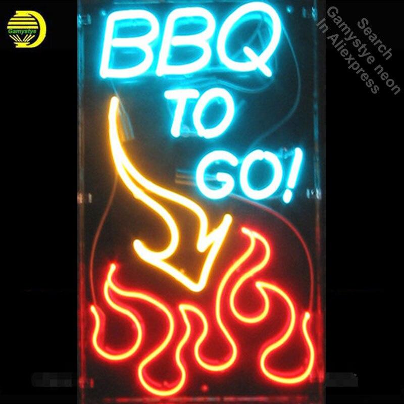 Enseigne au néon pour la fenêtre au néon personnalisée signe BBQ pour aller au Pub de la flamme Restaurant néon fenêtres lumières à vendre LOGO de marque personnalisée à la main