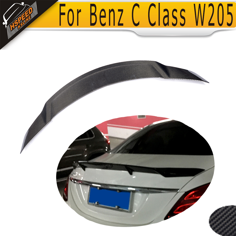 C Class Carbon Fiber Rear Trunk Lip Spoiler Wing For Mercedes Benz W205 Sedan 4 Door Only 2015-2017 C63 AMG C200 C300 C400 C450