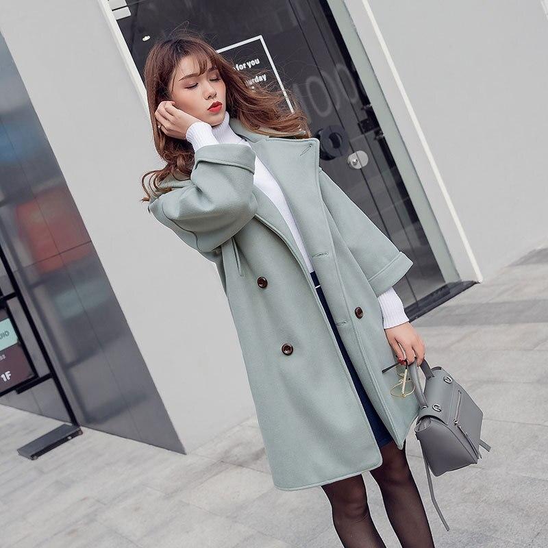 Lâche Manteau Rose Manteaux turquoise Long Chaud Longue Féminin Mélange Et Double Mode Solide Veste Hiver En Boutonnage Laine À xrdBCeo
