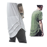 Side Zipper Extended Man Mens Hip Hop Hiphop Swag Long Casual T Shirt Top Tees Justin