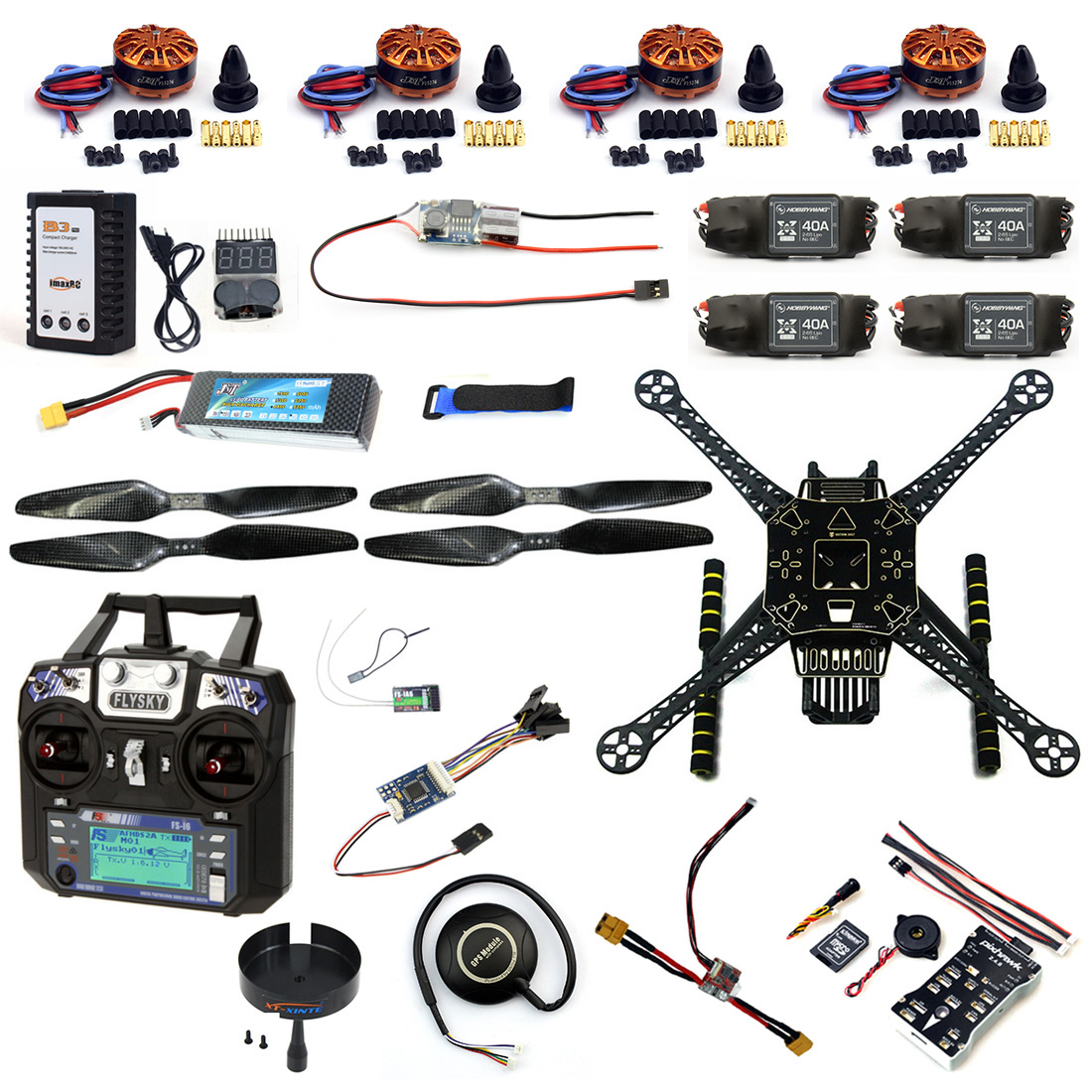 DIY RC Drone Full Kit 4-Axle S600 Frame PIX 2.4.8 Flight Control flysky FS-i6 Transmitter Motor 40A ESC GPS with Battery Charger zd850 full carbon fiber 850mm hexa rotor frame pix pixhawk 2 4 8 flight comtrol 5010 360kv motor 40a brushless opto esc set