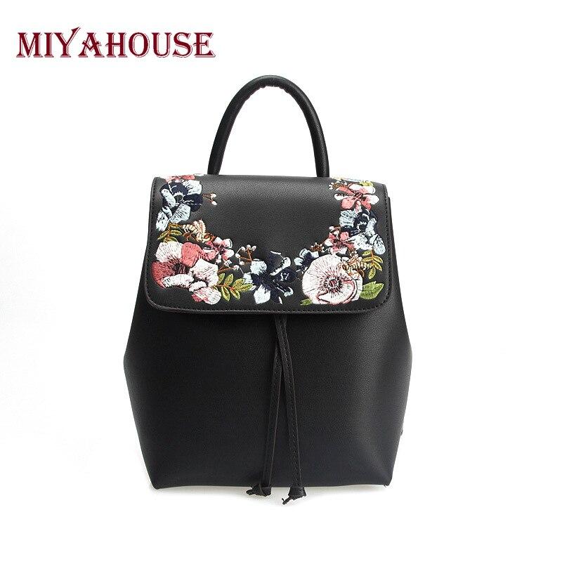 Miyahouse Fashion Floral Embroidery Leather Backpack Women Mini Drawstring Style Shoulder Bag For Teenager Girls Shoulder Bag недорго, оригинальная цена