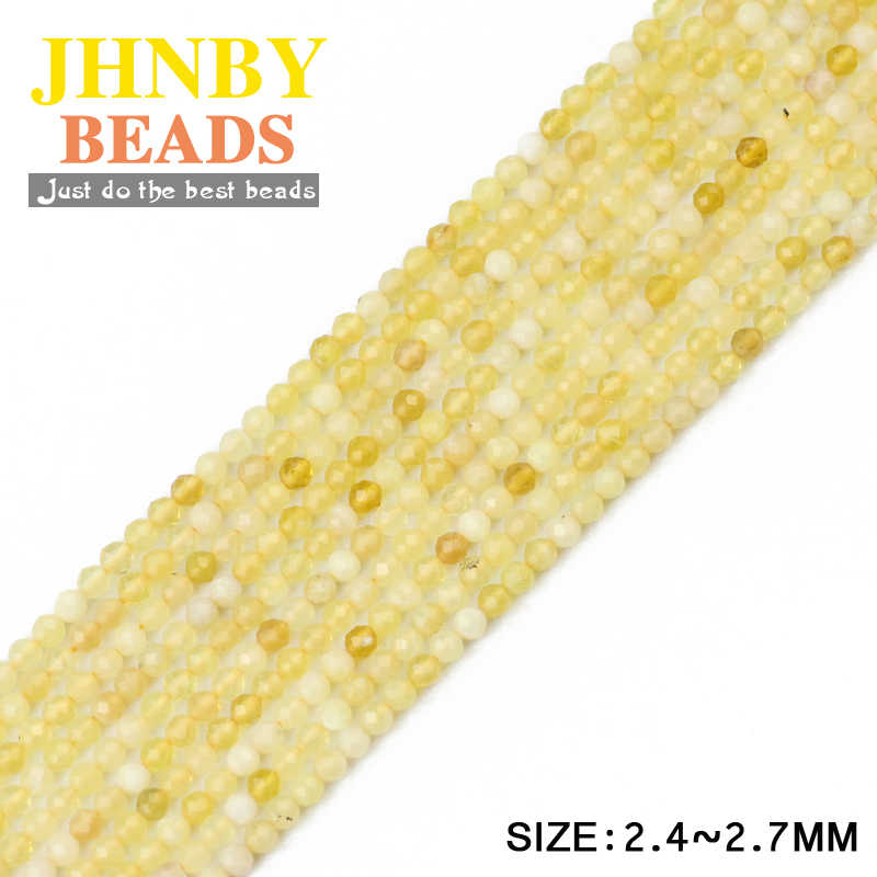 JHNBY 2 ミリメートルスモールファセットイエローオパールボールラウンド天然石 39 センチメートルストランドルースビーズジュエリーブレスレット diy アクセサリー