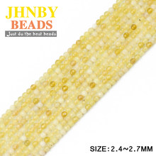 JHNBY 2mm Small Faceted Yellow opal ball Round Natural Stone 39cm strand Loose beads Jewelry bracelets making DIY Accessories()