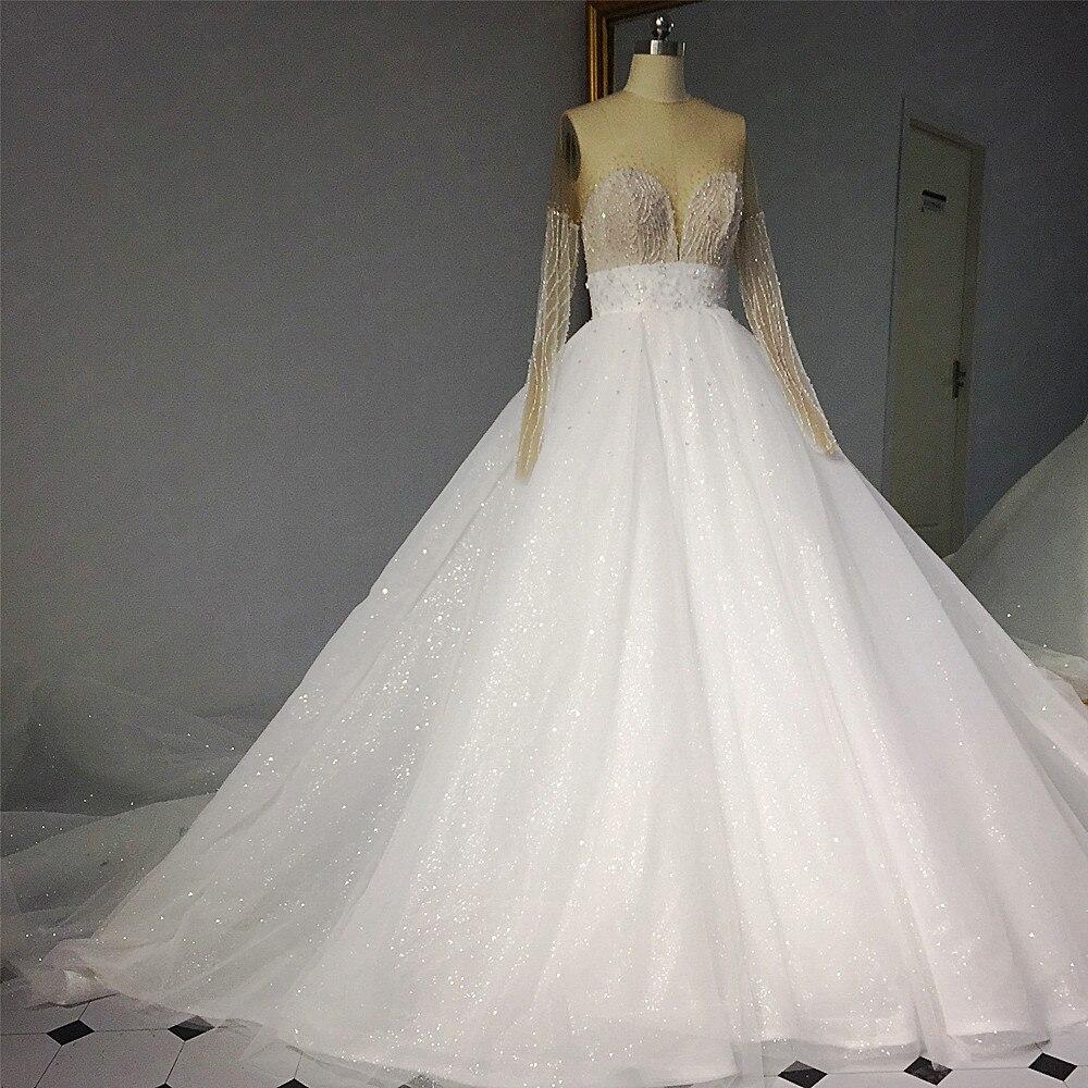 RSW1427 Luxury Bling Bling Bridal Dresses 2018 Long Bow-Knot Ribbon Long  Sleeves Illusion Back Glitter Wedding Dress 40939e4aacc4
