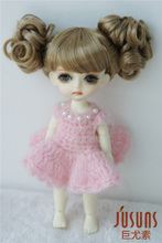 JD275 1/8 synthetic mohair doll wigs  5-6inch Lovely two curly pony BJD wig  fashion doll accessories