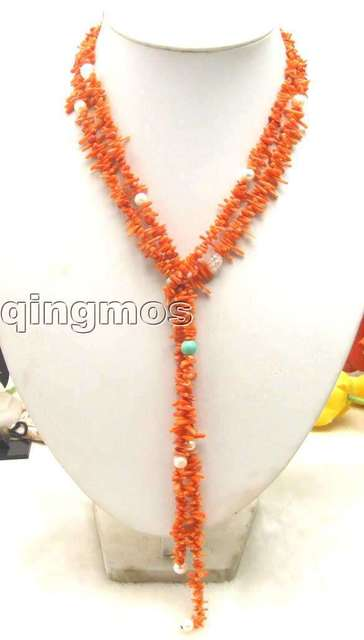 Exquisite! Super long 50 inch Pink branch coral necklace and 7 mm white pearl-5185 Wholesale/retail Free shipping