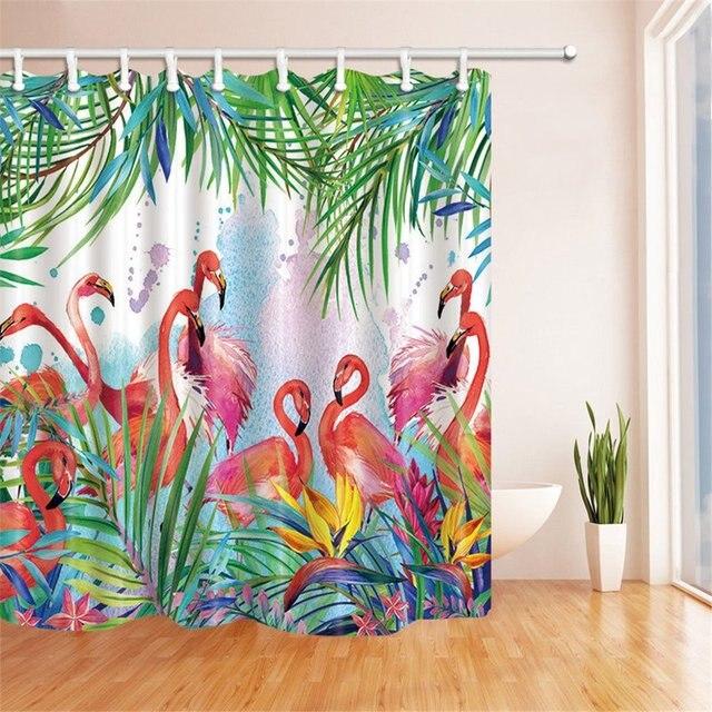 Tropical Flowers And Flamingo Bathroom Shower Curtain Waterproof Fabric U0026  12hook Bathroom Decor