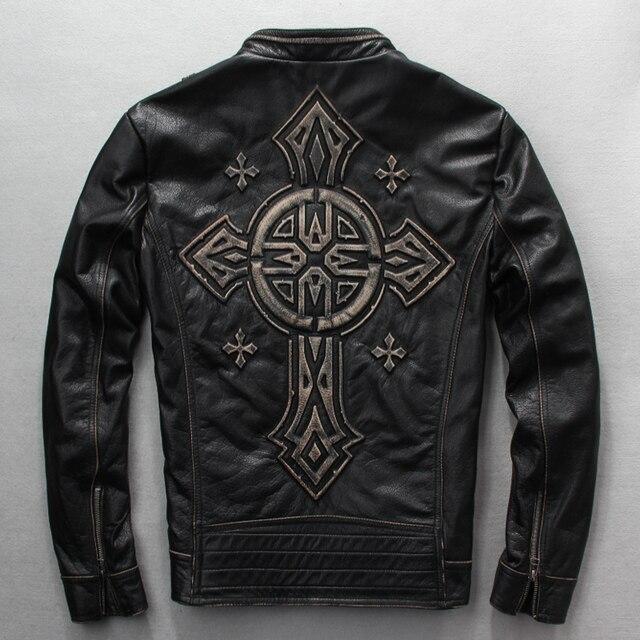 2018 hommes vintage slim fit réel veste en cuir hommes moto veste avec  Croix Punk véritable b6bd8e85091