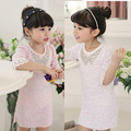 new arrive 2017 baby girls lace dress princess Rhinestone dress girls vestido short-sleeved for 3-7 Years