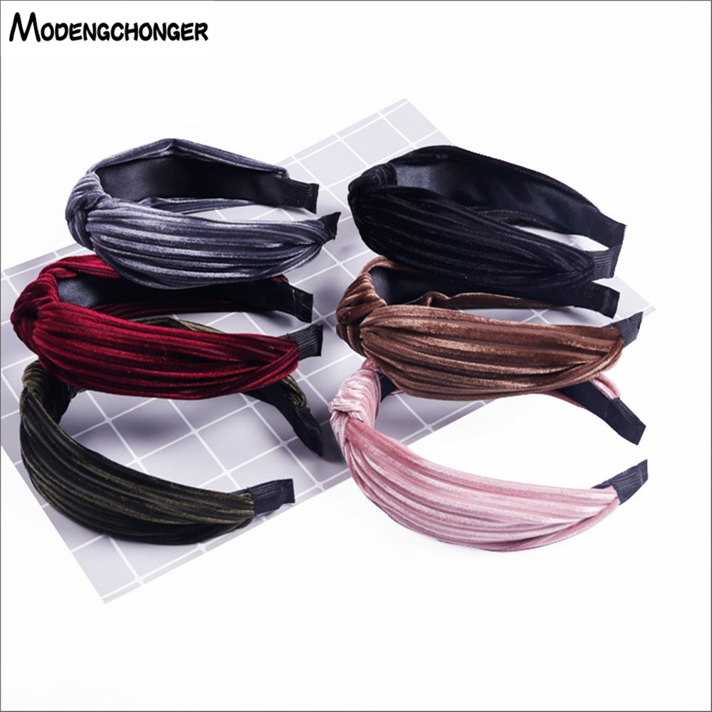 For Women Hairbands Retro Hair Bezel Elastic Hoop Stripe Headbands Gold Velvet Band Solid Color Girl Accessories