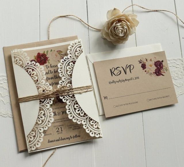Zaproszenia ślubne Białawej Koronki Zestaw Papieru Kraft Zaproszenia