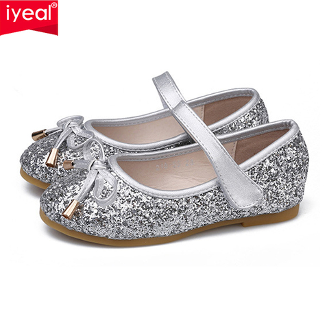 iyeal meninas sapatos princesa ouro rosa sliver sapatas dos miudos meninas para a festa de
