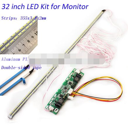 32 Inch LED Aluminum Plate Strip Backlight Lamps Update Kit For LCD Monitor TV Panel 2 LED Strips 355mm Free Shipping