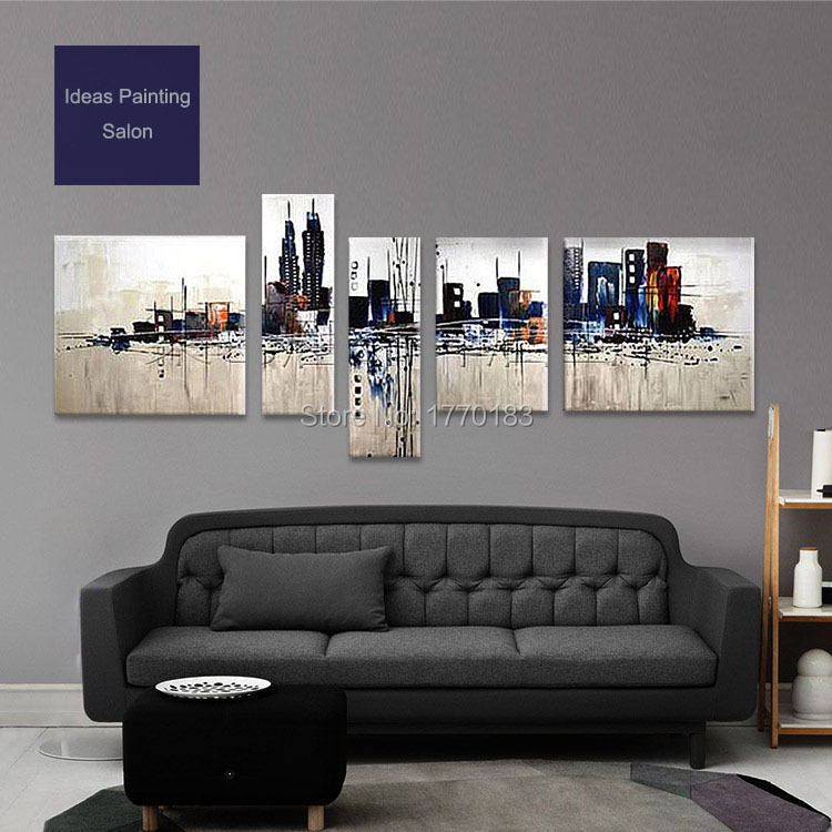 New York City Picture Canvas Painting Modern Wall Art: Handmade 5 Panel Wall Painting Modern Abstract City