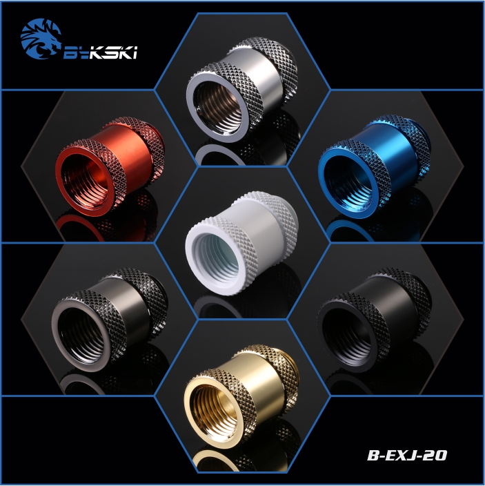 Bykski B-EXJ-20 Female To Male 20mm Polished Extender Fitting With G1/4